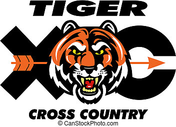 tiger cross country design with mascot head