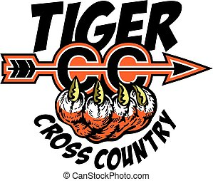 tiger cross country team design with arrow and claw for...