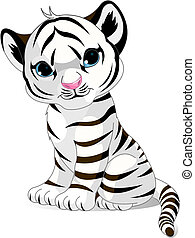 tiger, csinos, fehér, kölyök