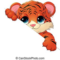 tiger cub - beautiful tiger that which looks out over the...