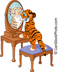 Tiger cub looking in the mirror - Cute tiger cub looking in...