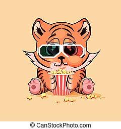 Tiger cub watching a movie