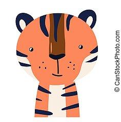 Tiger cute animal baby face vector illustration. Hand drawn style nursery character. Scandinavian funny kid design