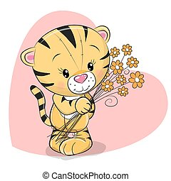 tiger, cute, blomster, hilsen card