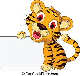 tiger, cute, em branco, bebê, sinal