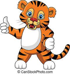 tiger, cute, expressão, jovem, caricatura
