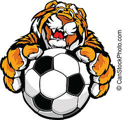tiger, cute, mascot, soccer, glade