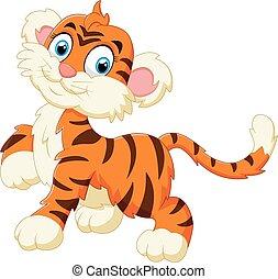 tiger, cute, sorrindo, filhote, tímido