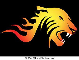 tiger, czarnoskóry, potężny, tło, płonący