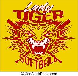 tiger, dame, softball