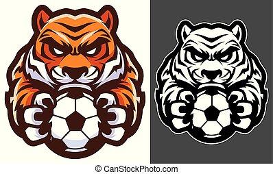 tiger, de voetbal van het voetbal, mascotte