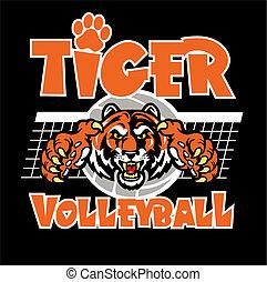 tiger, desenho, voleibol