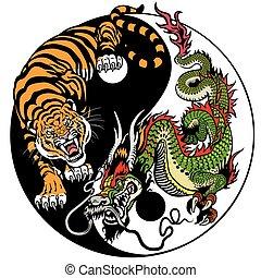 tiger, drak, yin yang