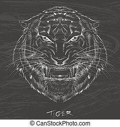 Tiger drawing with chalk on blackboard