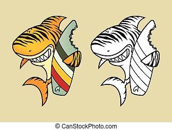 tiger, engraçado, tubarão