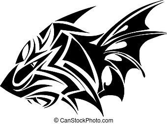 tiger, engraving., disegno, vendemmia, tatuaggio