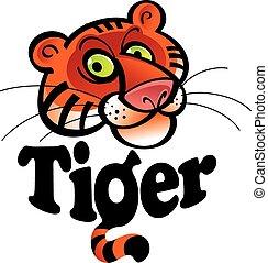 Tiger - The Tiger - funny cartoon animal head and...