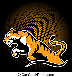 Tiger in jump. vector stylization. corporate design