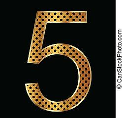 tiger, estilo, cinco, número