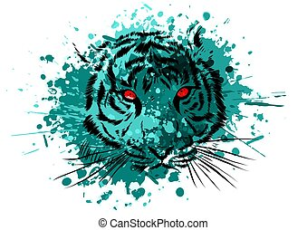 Tiger Eyes Mascot Graphic in white background