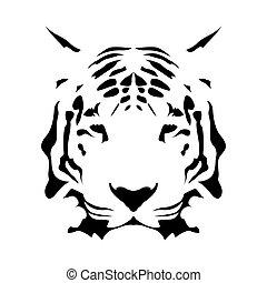 Tiger face, abstract vector icon