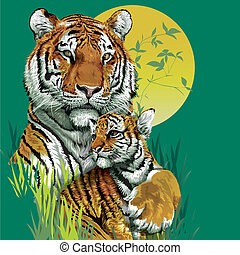 Tiger family in jungle. Vector