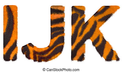 Tiger fell I J and K letters isolated over white background