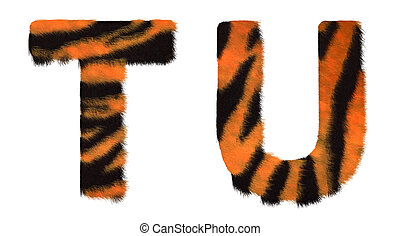 Tiger fell T and U letters isolated over white background