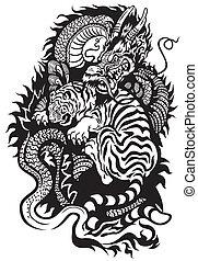tiger, feuerdrachen, kämpfen