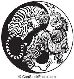 tiger, feuerdrachen, yang, yin