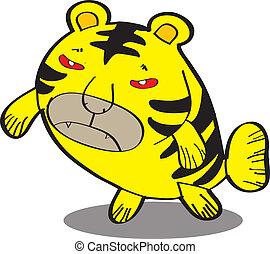 tiger fish - cute fish cartoon, line art, coloring