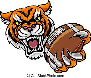 tiger, football americano, tenendo palla
