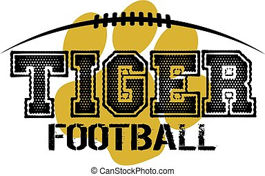 tiger football design with paw print and laces