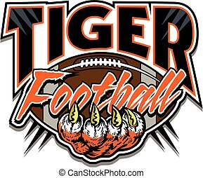 tiger football design with tiger claw and ball