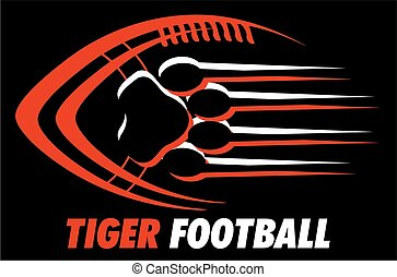tiger football team design with paw print for school,...