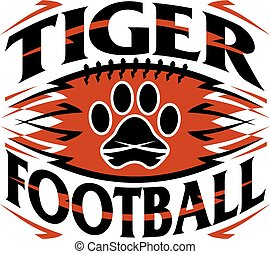 tiger football design with paw print inside graphic ball
