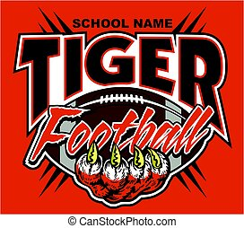 tiger football team design with tiger claw and ball for...