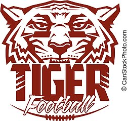 tiger football team design with mascot and laces for school,...