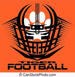 tiger football team design with helmet and paw print for...