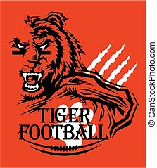 tiger football team design with mascot for school, college...