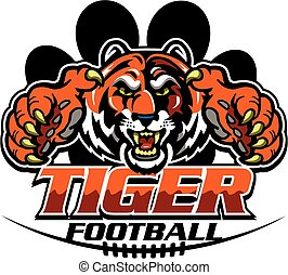 tiger football team design with mascot inside large paw...