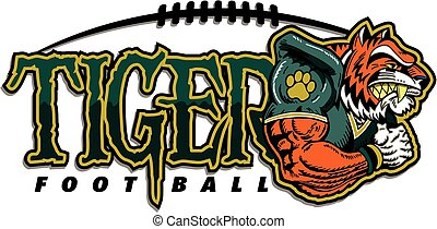 tiger football team design with muscular tiger mascot