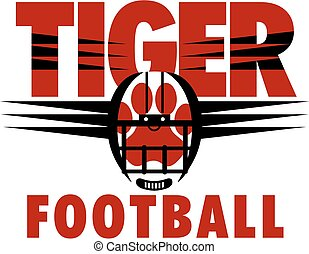 tiger football team design with paw print inside helmet