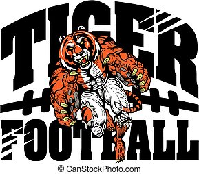 tiger football team design with running mascot for school,...