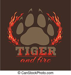 Tiger footprint and fire on dark background