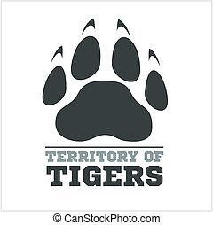 Tiger footprint and fire on light background for tshirt -...