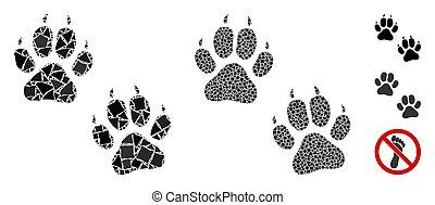 Tiger footprints Composition Icon of Humpy Pieces