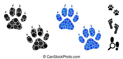 Tiger Footprints Composition Icon of Spheric Items