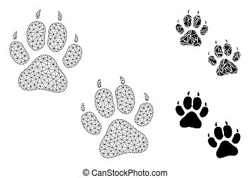 Tiger Footprints Vector Mesh Carcass Model and Triangle Mosaic Icon