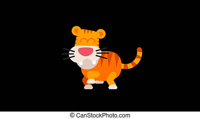 Tiger Funny Animal Character Chinese Horoscope. Motion...